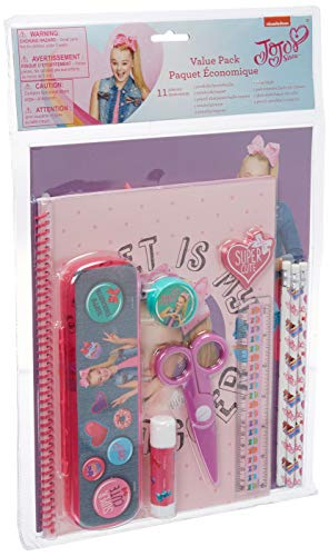 JoJo Siwa 11 Pcs Value Pack with Plastic Pencil Case in PVC Bag School Supplies