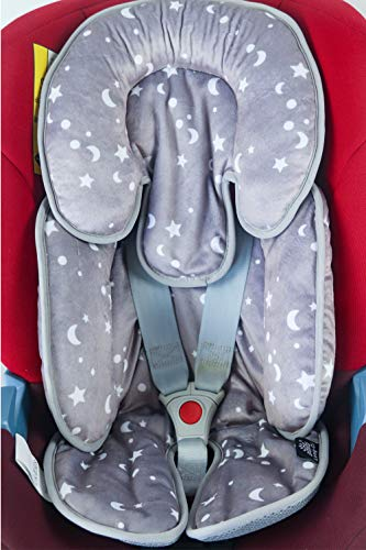 Long-Ci Baby Car Seat Pad Reversible with Head Neck Body Support for Stroller in Velvet Star