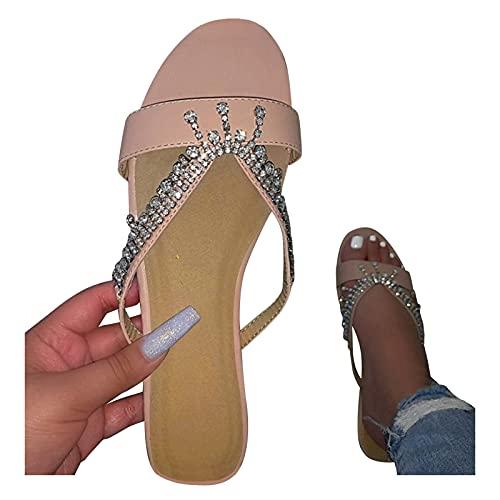 YSYOkow Sandalias para mujer Dressy Verano, Mujeres 2021 Moda Bowknot Open Toe Plataforma Sandalias Casual Beach Flatform Zapatillas S
