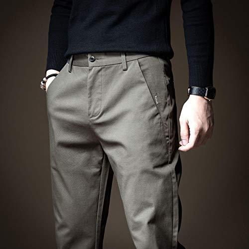 'N/A' Pequeños pantalones de pierna recta casual de los hombres de moda guapo literario y artístico delgado estiramiento de pierna recta pantalones largos 38。 Khatcolor