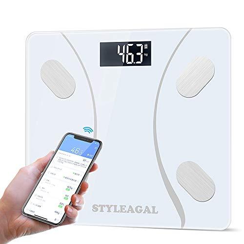 STYLEAGAL 体重計 体組成計・体脂肪計 体重/体脂肪率/体水分率/骨量/基礎代謝量/BMI/など簡単測定 複数登録可能 0.5-180kg Bluetooth対応 iOS/Androidアプリで 健康管理 ヘルスケア同期 体重管理 技適認証済 日本語取扱説明書付き(白)