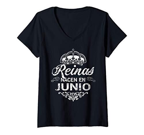 Mujer Una Reina Nacio en Junio - Cumpleanos Camisa Regalo Vintage Camiseta Cuello V