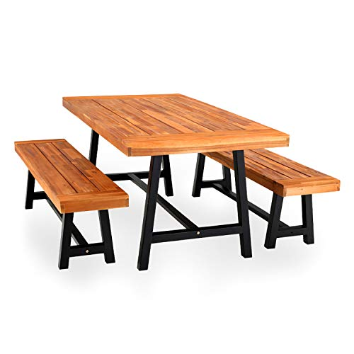 PHI VILLA Outdoor Table Bench Set of 3, 1 Wood Dining Table & 2 Wooden Benches, Premium Acacia Wood Patio Furniture Set for Porch Balcony Deck, Teak Color