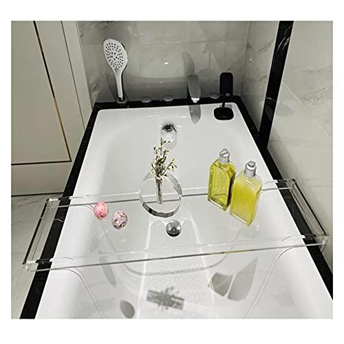 YOGANHJAT Bandeja para bañera de cristal acrílico con bandeja para teléfono móvil, soporte para tablet, smartphone o vino, color blanco, 82 x 20 cm
