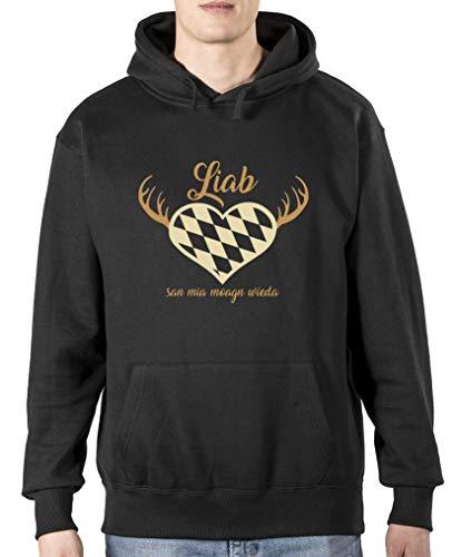 Comedy Shirts Liab san mia Moagn Wieda - Oktoberfest - Sweat à capuche pour homme - Capuche kangourou - Poche kangourou à manches longues - Noir - XL