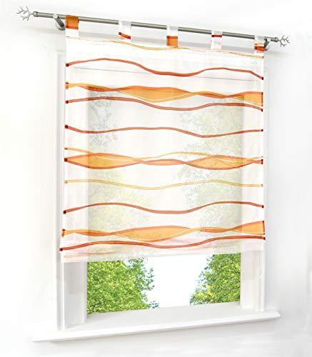 BAILEY JO Voile Raffrollo mit Wellen Druck Design Rollos Schlaufen Transparent Vorhang (BxH 80x140cm, Orange1 mit Schlaufen)