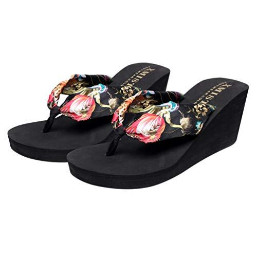 Holibanna Chanclas con Cuña de Bohemia Zapatillas de Playa para Mujer- Talla 36 6Us 3. 5Uk 36. 5Eu (Negro)