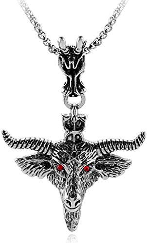 NC66 Baphomet Pentagrama Cabeza de Cabra Colgante Amuleto sabático Oculto Collar de Cabra de Ojos Rojos Retro joyería Ritual mágica pagana