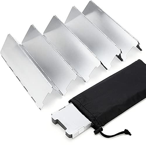 Parabrisas Aluminio Plegable para Camping aleación de Aluminio con Cocina Estufa de Gas Escudo Pantalla de Viento Cortavientos al Aire Libre 10 Placas