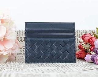 weichuang Funda para tarjetas ultrafina, tarjetero de piel neutra, funda para tarjetas (color: azul oscuro).