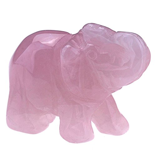 CrystalTears Rose Quartz Crystal Elephant Ornament Handcarved Natural Healing Crystal Gemstone Elephant Figurine Statue for Home Office Decor Meditation Yoga 1.5'
