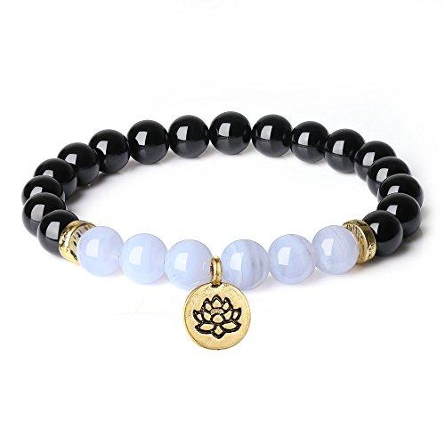 COAI Pulsera de Yoga Turmalina y Piedra de Veta Azul con Colgante Dorado de Flor de Loto para Mujer