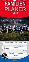 American Football - Athleten - Familienplaner hoch (Wandkalender 2022 , 21 cm x 45 cm, hoch): Dynamische Bilder zeigen die Spieler in heroischen Posen und packenden Spielszenen (Monatskalender, 14 Seiten )