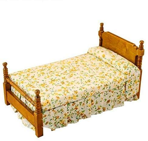 EatingBiting(R) 1:12 Doll Vintage Flower Print Bed , Dollhouse Miniature Furniture Wooden Single Bed Traditional Flower Bed , DIY Scene Doll Home Furniture Craft Accessoreis .