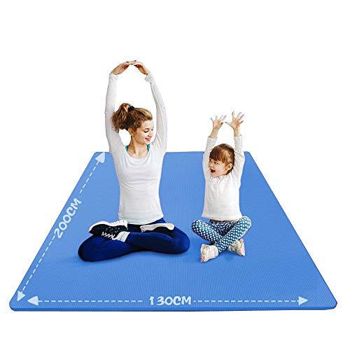 YUREN Groß Yogamatte Extra Weit 2X1,3 M Gymnastikmatte Übungsmatten für Partner Yoga 10mm Weiche Dicke NBR-Schaum Stretch Fitness Heimtrainingsmatte Mit Gurt - Blau