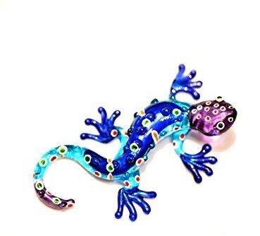 Gecko Blau Lila S - Glastier Salamander Glas Blau Eisblau Violett Figur S - Glasfigur Eidechse Lurch T