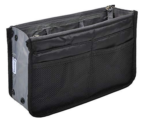 Vercord Purse Organizer Insert for Handbags Bag Organizers Inside Tote Pocketbook Women Nurse Nylon 13 Pockets Black Medium