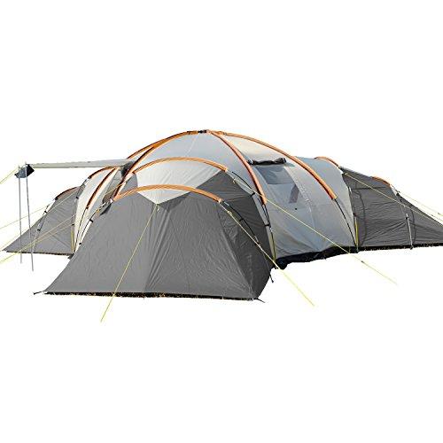 skandika Turin 12-Personen Kuppel/Familienzelt, 3 Schlafkabinen, 200 cm Stehhöhe, 5000 mm Wassersäule (grau/orange)