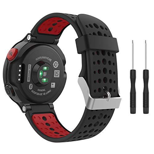 MoKo Forerunner 235/220 / 230/620 / 630/735 Correa - Reemplazo Suave Silicona Watch Band Deportiva Accessorios de Reloj Pulsera Ajustable con Cierre de Clip, Negro & Rojo