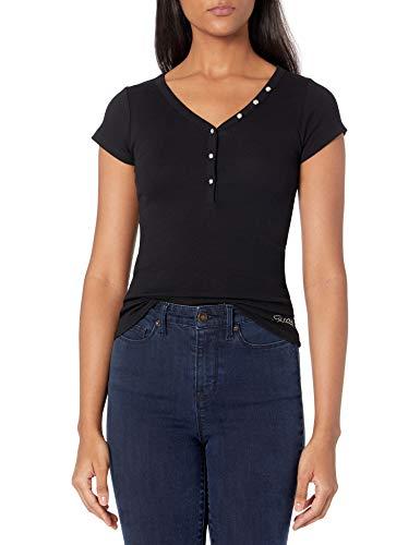 Guess Damen Short Sleeve V-Neck Henley Shirt, Jet Black, Groß