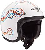 DMD Stripe - Casco Jet para Moto, Unisex, Adulto, Blanco, Talla XS