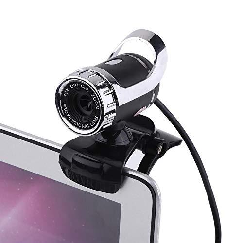 ASHATA USB 2.0 12M Pixel Clip-on-Webcam-Webkamera HD 360 ° drehbarer Ständer Integriertes Mikrofon PC Videokamera für PC(Silber)