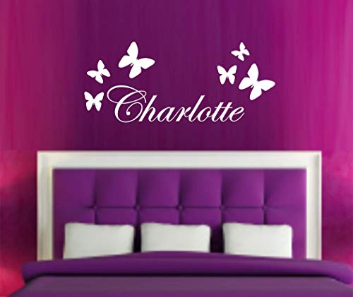 Adhesivo de pared personalizado con nombre de mariposas para habitación de niños, niños, dormitorio, guardería, decoración de pared
