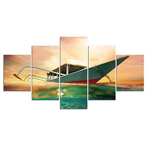 ELSFK Cuadro En Lienzo Barco de Transporte Impresión De 5 Piezas Material Tejido No Tejido Impresión Artística Imagen Gráfica Decor Pared 200x100cm
