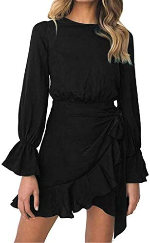 WEEPINLEE Womens Long Sleeve Round Neck Ruffles Wrap Dresses Party Dress Black S product image