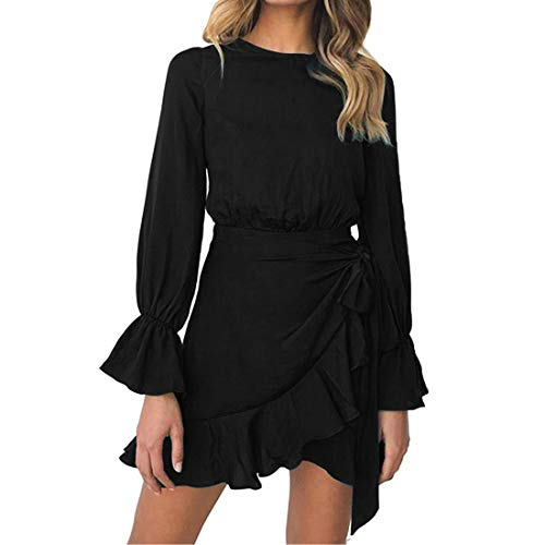 WEEPINLEE Womens Long Sleeve Round Neck Ruffles Wrap Dresses Party Dress (Black,M)