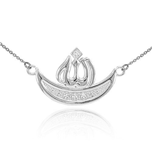 Middle Eastern Jewelry Women's 925 Sterling Silver CZ Crescent Moon Islamic Allah Name Necklace 16'