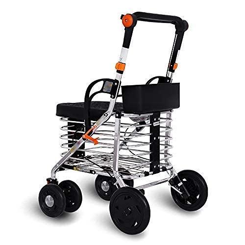 Walker,Carrello della Spesa deambulatore Portatile Leggero Carrello della Spesa per disabili a Quattro Ruote e Vecchio Carrello della Spesa Pieghevole Regolabile in Altezza in Acciaio al Carbonio WA
