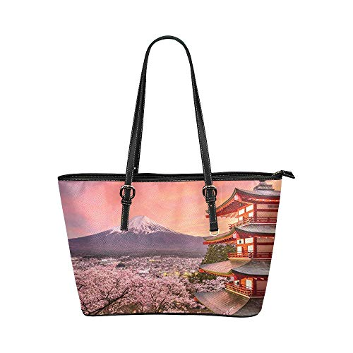 InterestPrint Fashion Japanese Cherry Blossoms Leather Tote Shoulder Bags Zippered Handbags for Women