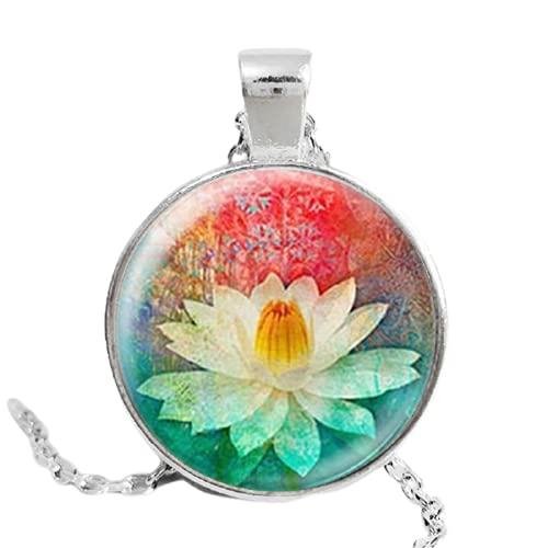 Colorido flor mandala loto collares esmalte henna yaga collar domo cabujón colgante joyería om símbolo budista zen