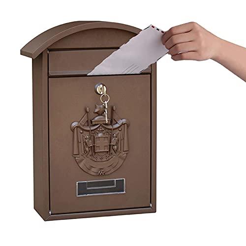 ZYSM Cassetta Postale A Parete Cassetta Postale retrò in Ghisa Cassetta Postale Sicura Cassette Postali Esterne Cassetta Postale Vintage per Montaggio A Parete da Esterno,Marrone