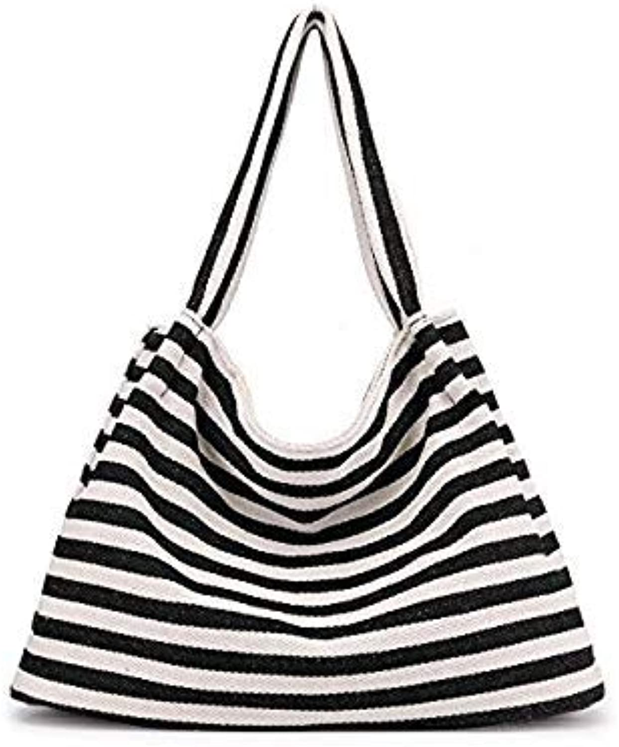 Bloomerang Women Canvas Summer Beach Bags Ladies New Fashion Casual Striped Bags Girls Large Wild Shoulder Bags Top-Handle Bags Tote SD-065 color Black Canvas Bags 44 X 16 X 31 X 23 cm
