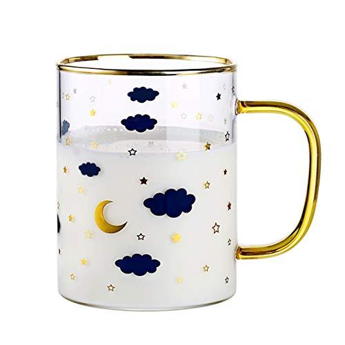 WxberG 480ml handgemaakte melkschaal, theekopje, vierkant hittebestendig ontbijtglas, om in te weken, verjaardagscadeau, oma-moedergeschenk (kleur: goud)