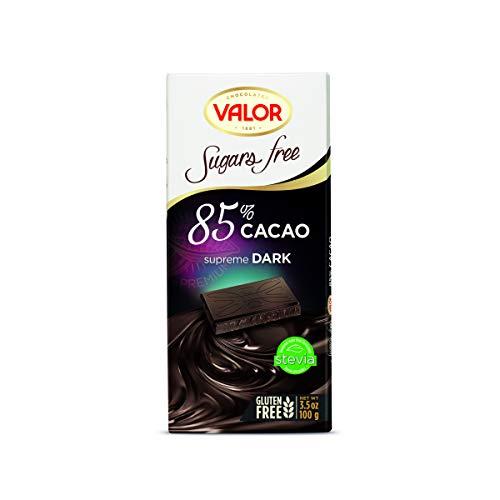 CHOCOLATES VALOR Dark 85% cocoa chocolate sugar free 0.10 kg
