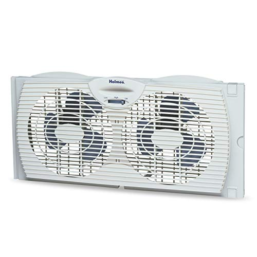 Holmes Window Fan with Twin 6-Inch Reversible Airflow Blades, White $15.05