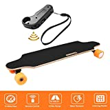shaofu Electric Skateboard Youth Electric Longboard with Wireless Remote Control, 12 MPH Top Speed, 10 Miles Range, 7 Layers Maple Longboard(US Stock) (Bright Red)