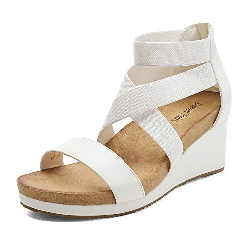 DREAM PAIRS Women's White Elastic Ankle Strap Open Toe Platform Wedge Sandals Size 10 M US NINI-3