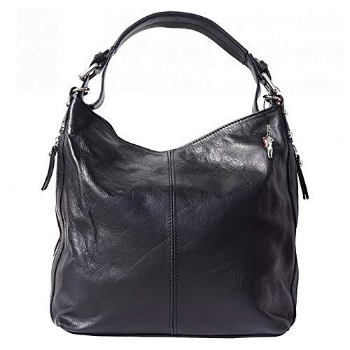 Florence Damen Beuteltasche Tasche schwarz echtes Leder 35x10x28 cm OTF101S Leder Beuteltasche