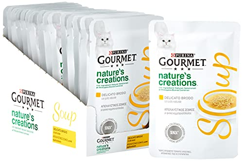 PURINA GOURMET Crystal NATURE'S CREATIONS Delicate Cat Soup Broth with Natural Chicken - 32 bags of 40g each (pack of 32x40g)