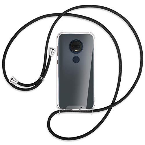 mtb more energy® Handykette kompatibel mit Motorola Moto G7 / Moto G7 Plus (6.2) - schwarz - Smartphone Hülle zum Umhängen - Anti Shock Strong TPU Case