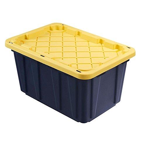 HDX Tough Polypropylene Plastic 27 Gal. Storage Tote in Black (5-Pack)