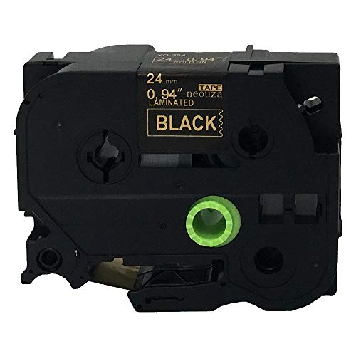NEOUZA Compatible for Brother P-touch TZe Tz Gold on Black label tape 6mm 9mm 12mm 18mm 24mm 36mm all size(TZe-354 24mm)