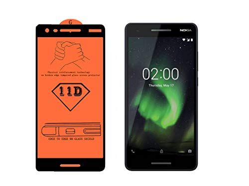 AAELOX 11D Tempered Glass Screen protector for Nokia 2.1 (Blue&Copper, 8 GB)(1 GB RAM) [Easy Installation] [9H Hardness] [Scratch Resistant] [Non-Bubbles] (Colour Black)(Pack of 2)