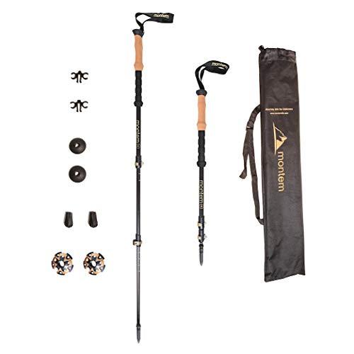 Montem Ultralight 3K Carbon Fiber Hiking/Walking/Trekking Poles - One Pair (2 Poles) … (Black)
