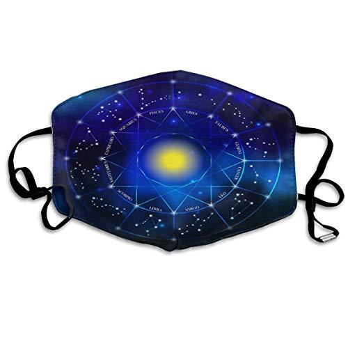 QYGA-3BU Zodiac Constellation Set Funda facial para polvo,exteriores,tormentas,ciclismo,funda bucal con impresión 3D para hombres y mujeres