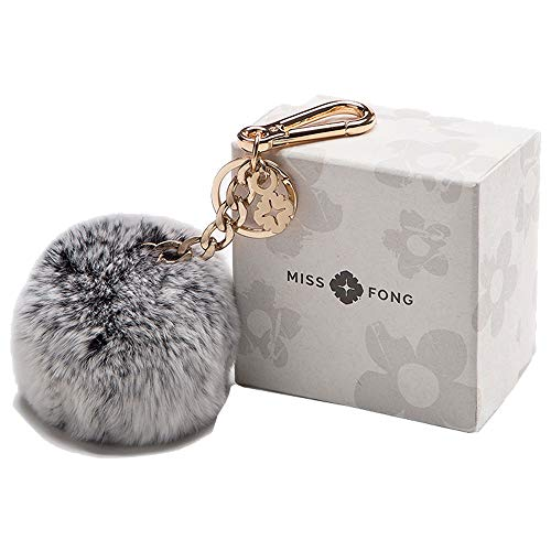 Pom Pom Keychain accessories for Women by Miss Fong,Keychains for Women,Cute Keychain,Puff Ball Key Chain Women,Bag charms for Handbags Fur Ball (Grey)